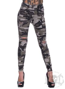 eXc Trashed Zipped Camo pants
